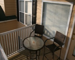 Covered balcony with outside storage area